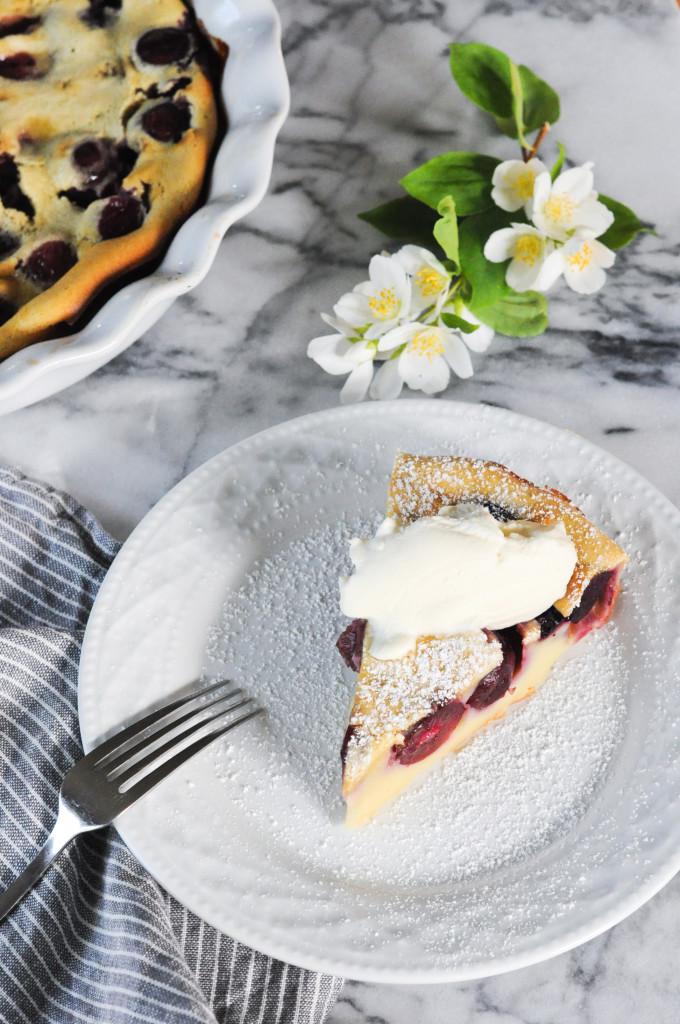 Cherry Almond Clafoutis with Chantilly Cream