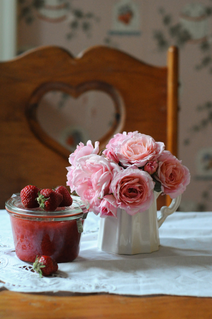 strawberry, rhubarb and rose compote